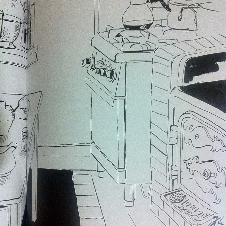 Detail of illustration by Geoffery Notman, Dinner at Home, 1993, p. 89.
